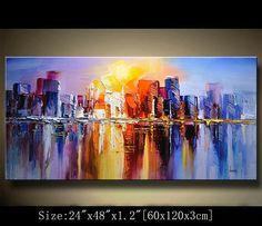 Original acrílico abstracto pintura moderna cuadros abstractos arte moderno gran venta ByChen moderno cuchillo de paleta de pintura con textura Se trata de una pintura abstracta con textura creada en lienzos texturados empastes espátula técnicas. Esto realzar la mirada y ser el punto