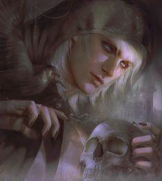 """""""The Black Raven"""" by Zeilyan on DeviantArt. (fantasy art, dark elf, skull)"""