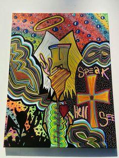 American Jebus 18x24 Canvas Acrylic Spray Paint Ink by LunasNook