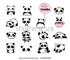 Ad: Panda bear design collection by Marish on Collection of Panda bears design. Hand drawn vector illustrations, patterns and brushes, for make your design cute and stylish, greeting Panda Illustration, Graphic Illustration, Vector Illustrations, Bild Tattoos, Body Art Tattoos, Small Tattoos, Art Chinois, Bear Drawing, Cute Panda Drawing