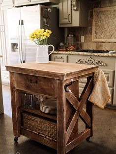 Small Kitchen Island...if I dont get k Big dream kitchen id like this More ideas visit: www.kuraarasbasin.net #kitchenislands #kitchenideas