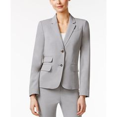 Calvin Klein Two-Button Notched Collar Blazer ($72) ❤ liked on Polyvore featuring outerwear, jackets, blazers, grey, calvin klein blazer, gray blazer, shiny jacket, grey jacket and two button blazer