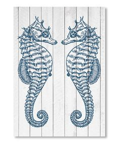 Double Seahorse Wood Wall Art