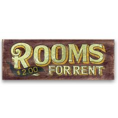 antique wooden signs | ROOMS FOR RENT Vintage Wood Sign
