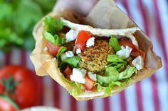 Baked Falafel Pita -- Awesome! A little crumbly, but perfect in a pita or on its own with hummus. May want to reserve some chickpea water for use when forming falafel.