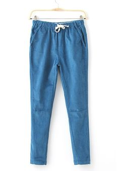 Sky Blue Plain Mid Waist Cotton Blend Pants
