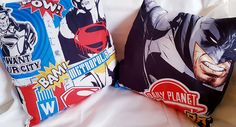 A pair of superhero cushion covers, just perfect for a superheroes bedroom. Envelope style so no sharp zips to get caught in. Suitable for inch) square cushion filler. Cushion filler not included Superman, Batman, Cushions, Pillows, Kids Decor, Cushion Covers, Envelope, Trending Outfits, Sneakers Nike