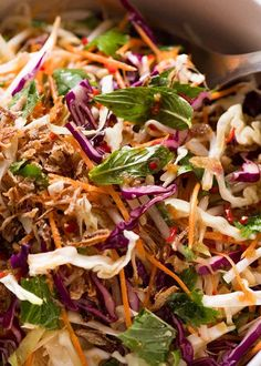 This is a terrific fresh, crunchy Asian salad that I call an Asian Slaw because it has shredded vegetables like traditional Coleslaw. The fresh herbs and Asian Dressing infused with Thai flavours makes this extra special. Delicious AND healthy! Crunchy Asian Salad, Asian Slaw, Asian Beef, Slaw Recipes, Chicken Recipes, Healthy Recipes, Mince Recipes, Asian Cabbage Salad, Spring Mix Salad