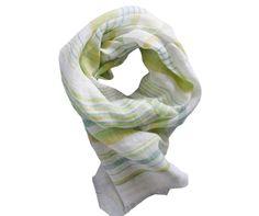 Foulard lin jaune, vert et blanc - Modèle SALERNE en lin à découvrir sur Saheline.com | Saheline.com