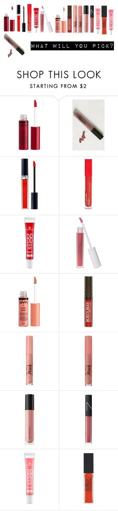 """Lipstick"" by jinchoihae ❤ liked on Polyvore featuring beauty, Charlotte Russe, Christian Dior, L.A. Colors, Too Faced Cosmetics, Bare Escentuals, NARS Cosmetics and Maybelline"