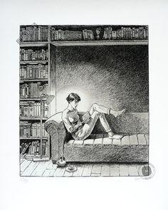 Estampe pigmentaire d'art BD signée André Juillard, 'Le plaisir' - Illustrose