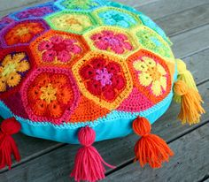 Rainbow floor pillows - I need to work on my crochet skills