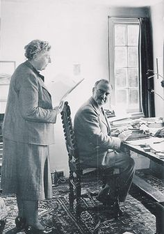 Agatha Christie reads to her husband, Max.