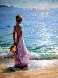 Vicente Romero Redondo walk on the beach x painting is shipped worldwide,including stretched canvas and framed art.This Vicente Romero Redondo walk on the beach x painting is available at custom size. Paintings I Love, Beautiful Paintings, Art Paintings, Ocean Paintings, Art Amour, Wow Art, Fine Art, Belle Photo, Painting Inspiration
