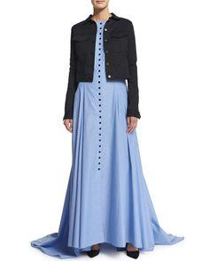 Alice + Olivia Lorelle Havana Town Tie-Neck Maxi Dress, Multicolor