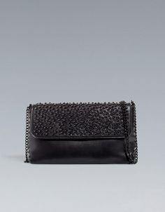 BLACK STUDDED MESSENGER BAG -  ZARA