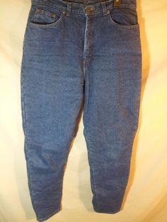 """VINTAGE Women's L.L. Bean Fleece Lined Insulated Blue Jeans USA MADE 12 Tall 33"""" #LLBean #taperedleg"""
