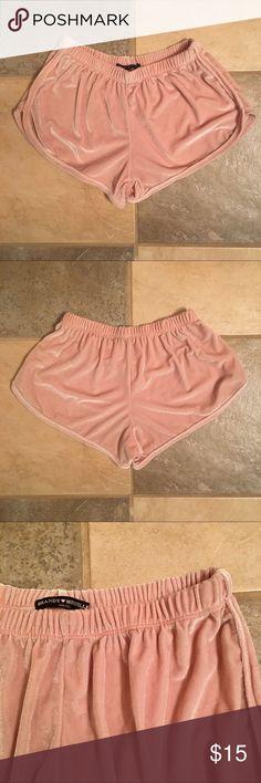 BM Velvet Lissette Shorts Brandy Melville light pink velvet lissette shorts. Brandy Melville Shorts