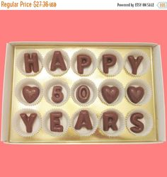 Happy 50 Years Large Milk Chocolate Letters Fifty Milestone Anniversary Cool Gift for Couple Parents Husband Wife Couple Made to Order
