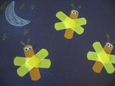 Cute and simple kid craft. Bandage Lightning Bugs {No Time For Flash Cards}