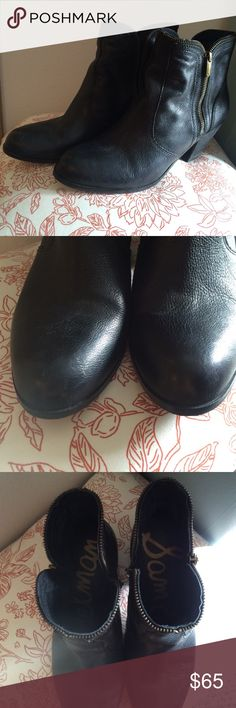 Sam Edelman black leather boots 11 Worn once. Small scuff on toe (see pic). Sam Edelman Shoes Ankle Boots & Booties