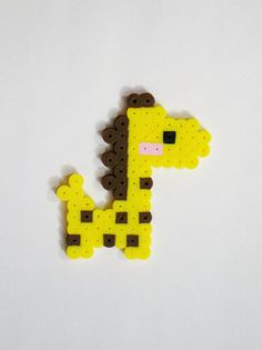 Baby GIRAFFE Blushing // Yellow and Brown Cute Kawaii Perler Beads Zoo Animals // Magnet Keychain Pin (pick your finish) by RainbowMoonShop on Etsy