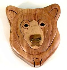 "This secret """"Bear Head"""" wooden puzzle box is a beautifully handcrafted…"
