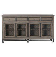 Mitchell Antique Oak Double Lattice Media Cabinet Sideboard