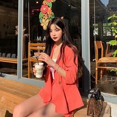 Image may contain: 1 person, standing and outdoor Teenage Outfits, Girl Outfits, Cute Outfits, Ulzzang Fashion, Korean Fashion, Korean Girl, Asian Girl, Korean Picture, Uzzlang Girl