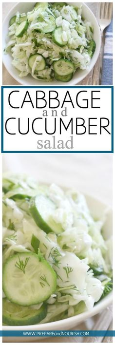 Cabbage and Cucumber Salad - This cabbage salad is seriously loaded with crunch, zest and deliciousness. Made with simple ingredients and has a longer shelf life than most salads, this salad is a fun party food. via paleo dinner cabbage Real Food Recipes, Vegetarian Recipes, Cooking Recipes, Healthy Recipes, Keto Recipes, Cucumber Recipes, Cucumber Salad, Cabbage Recipes, Le Diner