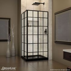 36-inch W x 36-inch D x 74.75-inch H Framed French Corner Shower Enclosure and Shower Base Kit in Satin Black