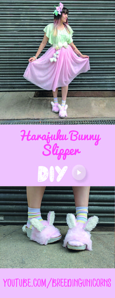 Easy and fast Video DIY fluffy Harajuku Slipper