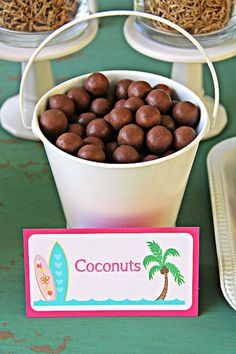 Coconuts/whoppers from a Hawaiian Luau Birthday Party on Kara's Party Ideas | KarasPartyIdeas.com (15)