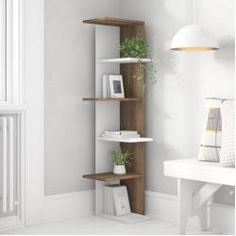 Seamlessly blending utility and style, Bookcase product is sure to garner a lot of compliments. A simple yet elegant piece of furniture, it looks great with any type of decor. It exhibits a lovely construction that has fine lines and clean cuts. Corner Furniture, Hallway Furniture, Furniture Design, Furniture Storage, Diy Furniture, Corner Bookshelves, Cube Bookcase, Diy Storage Shelves, Wall Shelves