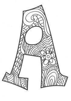 The super original mandaletras learn the alphabet - Educational Images Alphabet Letter Crafts, Hand Lettering Alphabet, Doodle Lettering, Calligraphy Alphabet, Alphabet And Numbers, Alphabet Coloring Pages, Coloring Book Pages, Calligraphy Worksheet, Easy Art For Kids