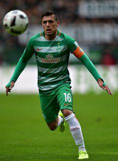 Zlatko Junuzovic of Bremen in action during the Bundesliga match between Werder Bremen and RB Leipzig at Weserstadion on March 18, 2017 in Bremen, Germany.