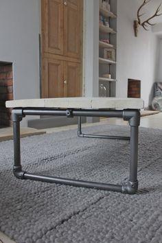 Blanc lavé récupéré échafaudages planches Table par inspiritdeco