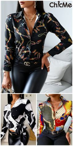 Printed Work Shirts Moda Outfits, Edgy Outfits, Classy Outfits, Covet Fashion, Look Fashion, Womens Fashion, Mode Cool, Tops Online Shopping, Modelos Fashion