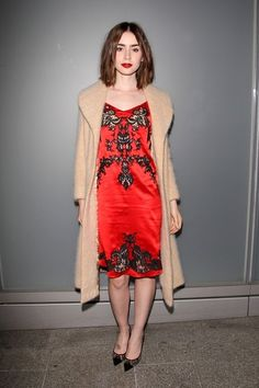 Lily Collins red dress