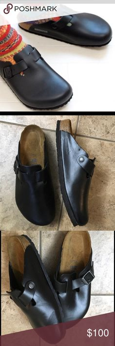 Boston Birkenstock black unisex Sz 41 NWOT Leather soft foot bed ,very comfy trendy never used Birkenstock Shoes Sandals & Flip-Flops
