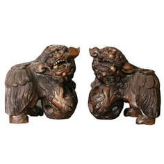 Large Pair of 19th Century Chinese Carved Hardwood Foo Dogs (Shi)