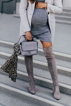 My Favorite Gray Classics from Nordstrom - Shalice Noel Bump Style, Casual Chic Style, Grey Boots Outfit, Gray Boots, Fall Winter Outfits, Autumn Winter Fashion, Winter Style, Maternity Fashion, Maternity Outfits