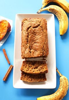 Banana Sweet Potato Bread! So gooy, tender, and moist that it doesn't need butter. #glutenfree