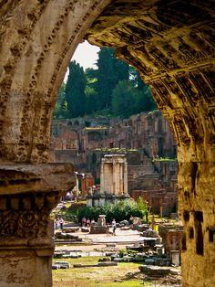 The Roman Forum, seen through the Arch of Septimius Severus. Rome  Italy