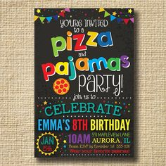 Pizza Party Pizza and Pajamas Party Invitation by creativelime