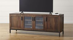 "Crate & Barrel - Wyatt Media Console.  Solid shesham wood with walnut finish and clear lacquer topcoat. Iron frame base and pulls with antique finish.  Three sizes available: 40""W x 20""D x 28""H.  60""W x 20""D x 28""H,  72""W x 20""D x 28""H."