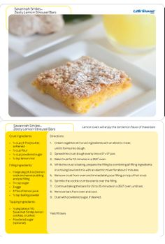 Girl Scout Cookie recipe: Zesty Lemon Streusel Bars will surely make you (Savannah) Smile! 2014 Cookie season for GSNorCal is Feb. 9-March 16. www.ilovecookies.org