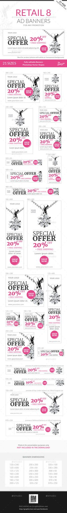 Retail 8 Ad Banners Template #design Download: http://graphicriver.net/item/retail-8-ad-banners/12617940?ref=ksioks