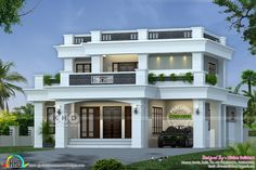 Lakhs cost estimated 2530 square feet 3 bedroom decorative flat roof house plan by Divine Builders from Kannur, Kerala.