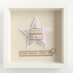 This personalised new baby frame features a cute textile star motif, baby's name…